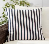Navy and White Stripe Indoor Outdoor Pillow