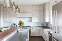 Light Gray Kitchen Cabinets with Aqua Mini Glass Tile ...