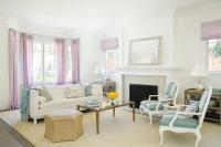 Blue and Lavender Living Room Design - Transitional ...