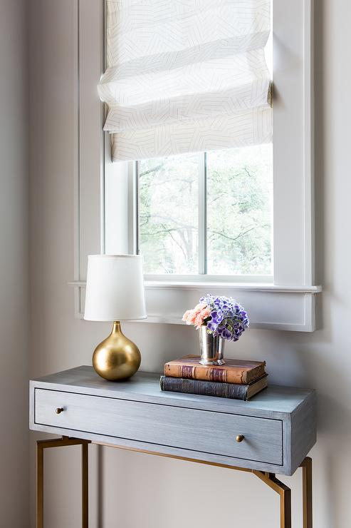Foyer Nook with Leaded Glass Window and Half Moon Table