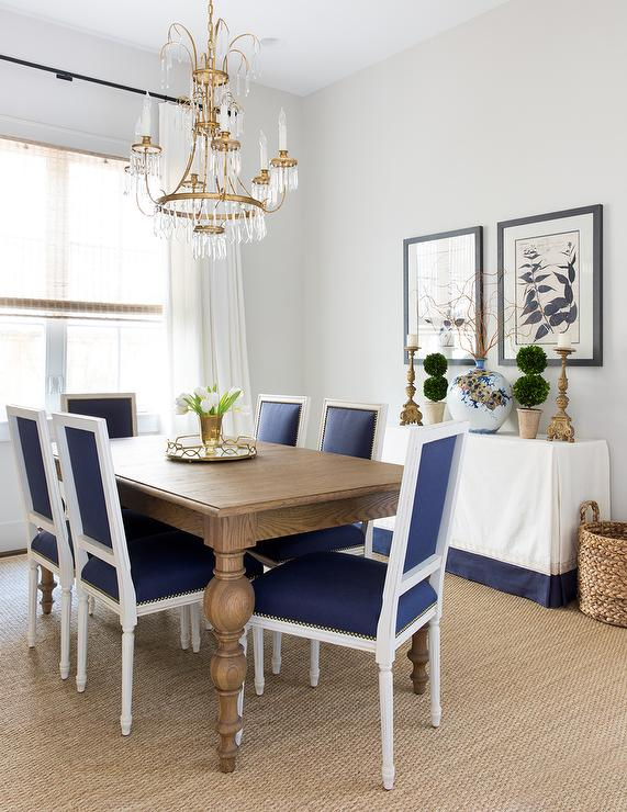 blue and white dining chairs black faux leather chair gray acai table with french transitional