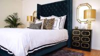 Navy Blue and Gold Bedroom with Dorothy Draper Style ...