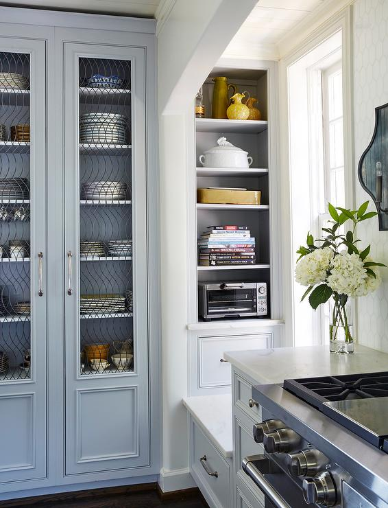 Gray China Cabinet With Glass And Metal Doors Transitional Kitchen