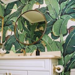 Banana Leaf Dining Room Chairs Abs Rocket Chair White And Gold Powder With Martinique Wallpaper - Transitional Bathroom