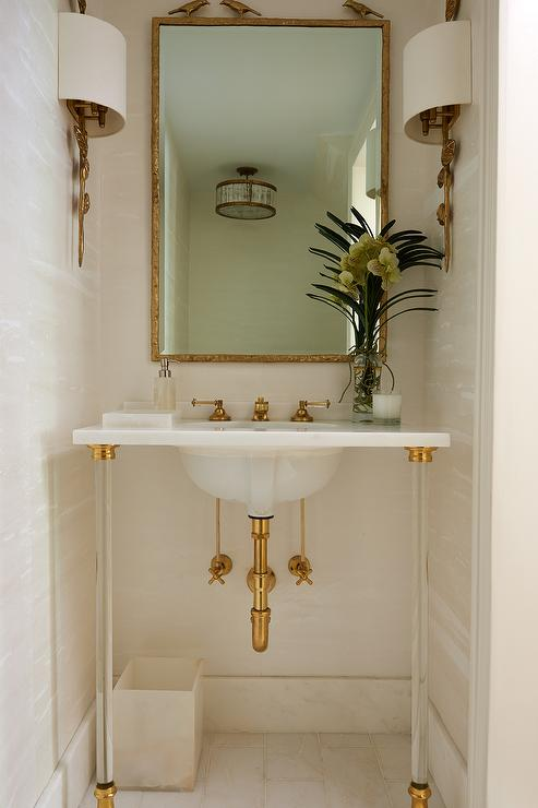 Gray Powder Room with Black Ceiling  Transitional  Bathroom