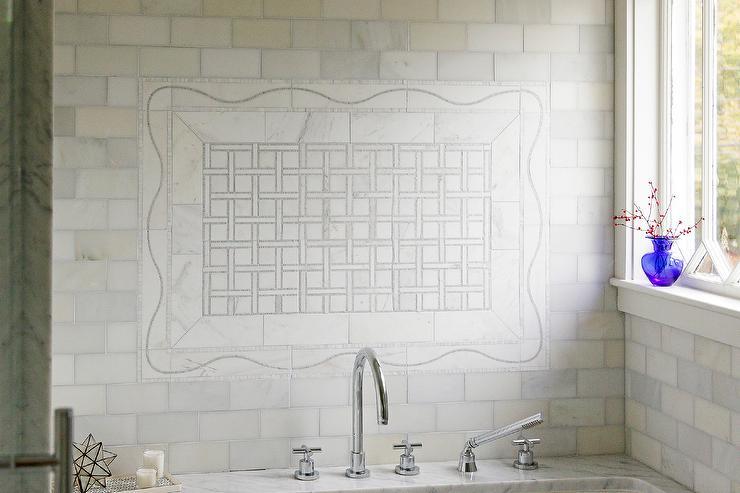 Marble Basketweave Tiles Backsplash Design Ideas