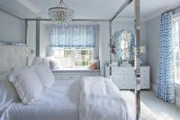 White and Blue Bedroom with Stainless Steel Canopy Bed ...