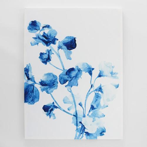 blue watercolor floral art