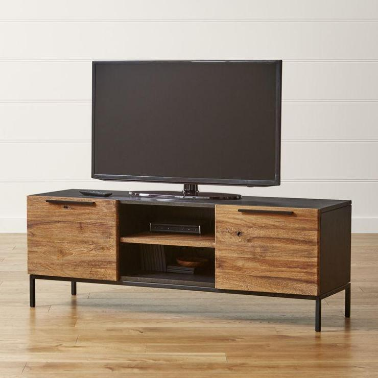 Knox Black and Brown Media Console with 2 Tall Storage Bookcases