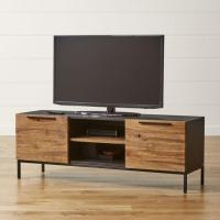 Knox Black and Brown Media Console with 2 Tall Storage ...