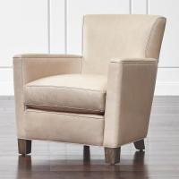 Beige Leather Upholstered Club Chair