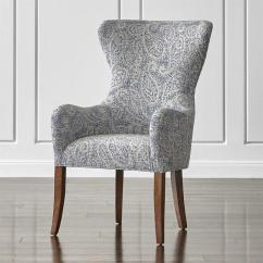 Teal Wingback Chair Office Makeover Blue And White Paisley