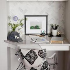 Kitchen Desk Ideas Large Wall Clocks Built In Design Small Corner With Ghost Chair