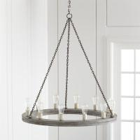 Gray Round Wood Rustic Chandelier