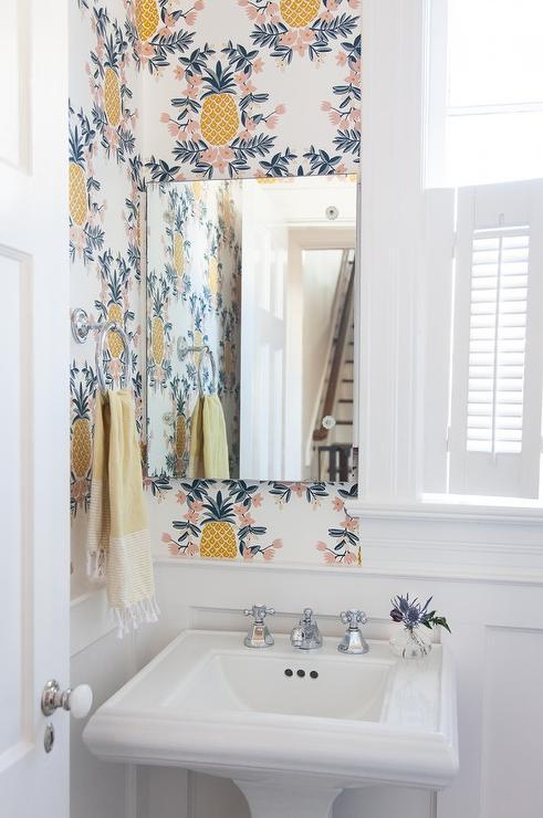 Yellow Powder Room with Cimarron Pedestal Sink