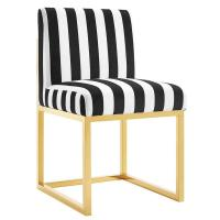 Black and White Stripe Velvet Armless Chair