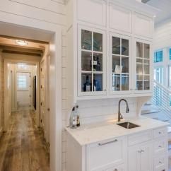 Pull Knobs For Kitchen Cabinets Drain Cleaner Beach Bungalow Wet Bar With Shiplap Backsplash - Cottage ...