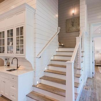 rustic painted kitchen cabinets television beach bungalow wet bar with shiplap backsplash - cottage ...
