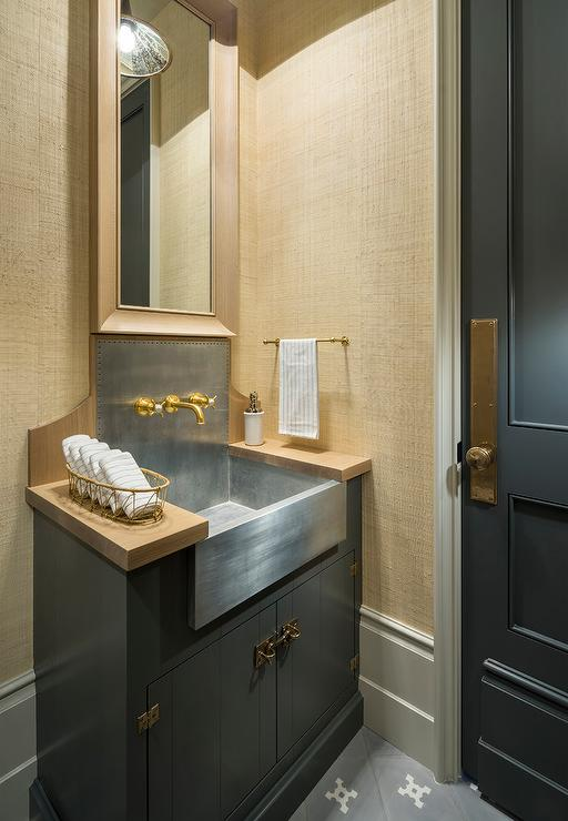 Purple and Gray Powder Rooms  Transitional  Bathroom