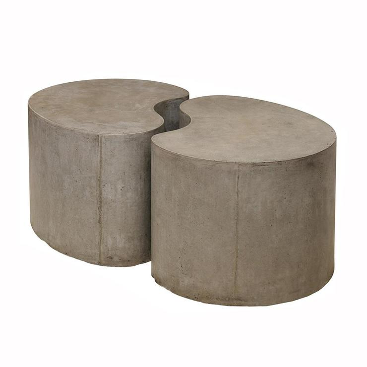 tufted gray sofa can you use a steam cleaner to clean leather sculpted concrete drum coffee table