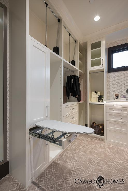 White and Gray Closet with Hidden Drop Down Ironing Board  Transitional  Closet