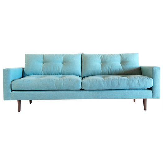 aqua sofa two piece leather blue box frame