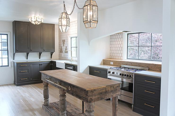 Dark Gray Kitchen Cabinets With Aged Brass Pulls And Knobs Transitional Kitchen