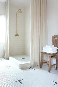 Corner Walk In Shower with Two Linen Shower Curtains ...