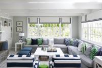 Gray and Blue Living Room with White Plank Coffee Table