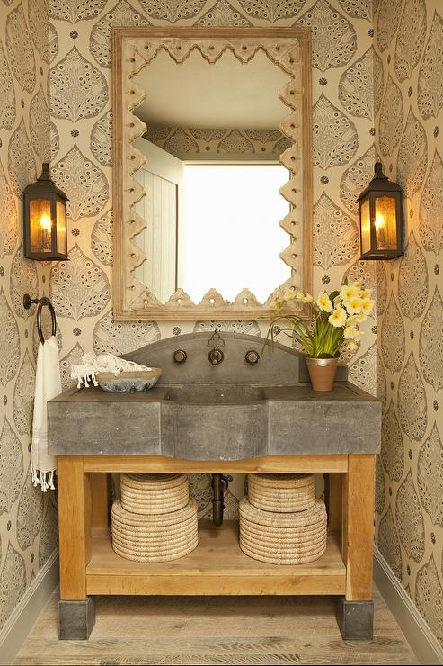 Rustic Powder Room with Wood and Concrete Washstand and