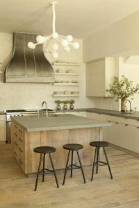 Reclaimed Wood Kitchen Island with Concrete Countertop ...
