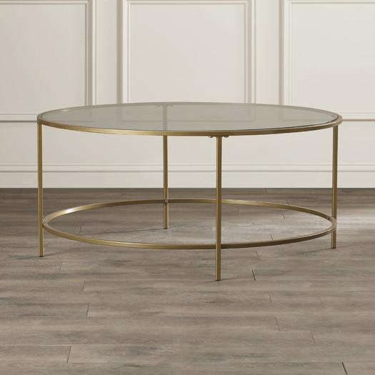 round brass frame glass coffee table