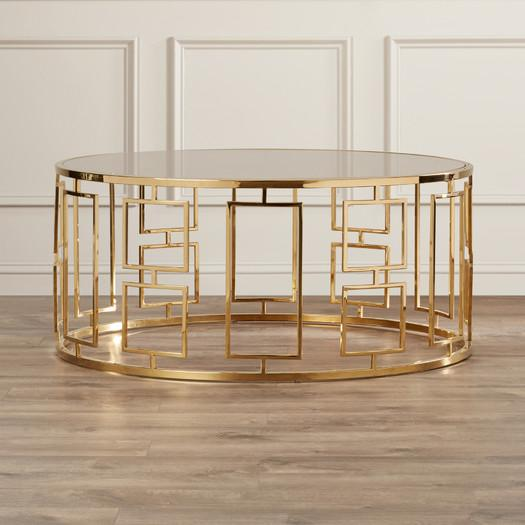 gold geometric base glass top coffee table