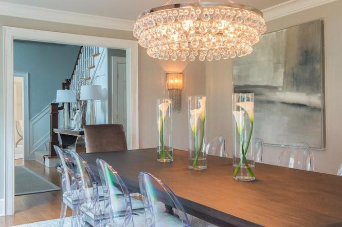 Brown Acacia Dining Table With Kartell Victoria Ghost Chairs