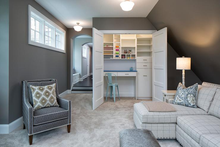 ideas for craft room chairs office chair amazon family with closet transitional den library