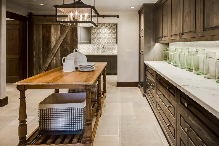 Country Pantry With Pine Cabinets And Honed White Marble Countertops Country Kitchen