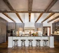 Country Kitchen with Rustic Wood Ceiling Beams