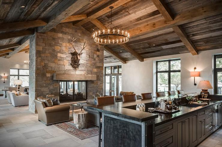 Country Living Room with Black Nailhead Wet Bar  Country  Living Room