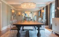Dining Room with Floor to Ceiling Antiqued Mirrored Accent ...