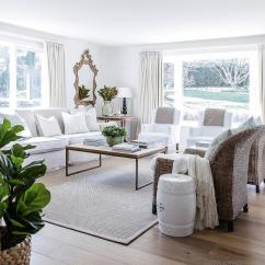 White Slipcovered Sofa Living Room Design Layout With Wicker Chairs And Transitional