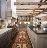 Country Kitchen with Gray Stained Pine Kitchen Cabinets ...