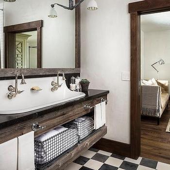 country bathroom trough sink design ideas