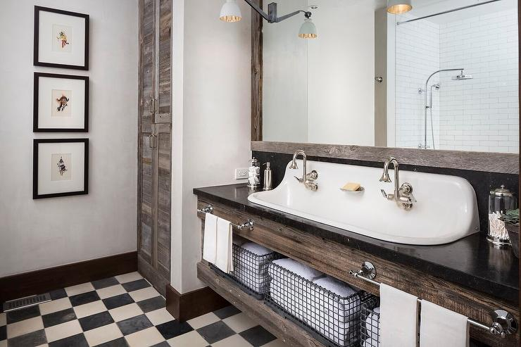 Country Style Bathroom with Black and White Checkered