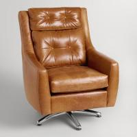 Brown Tufted Leather Swivel Chair