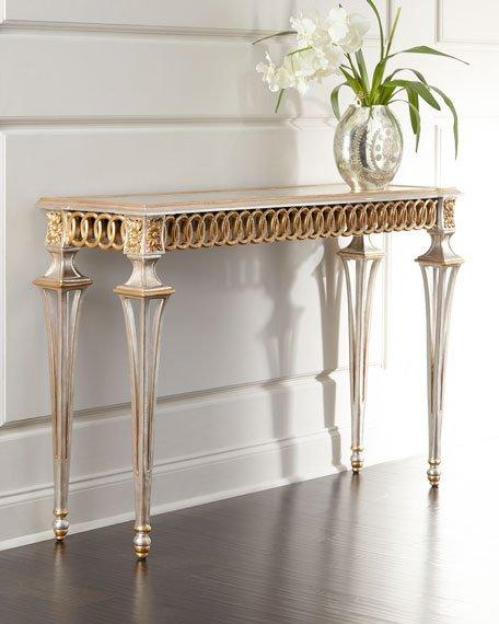 Black And White Leaf Wallpaper Antique Gold Circle Design Console Table