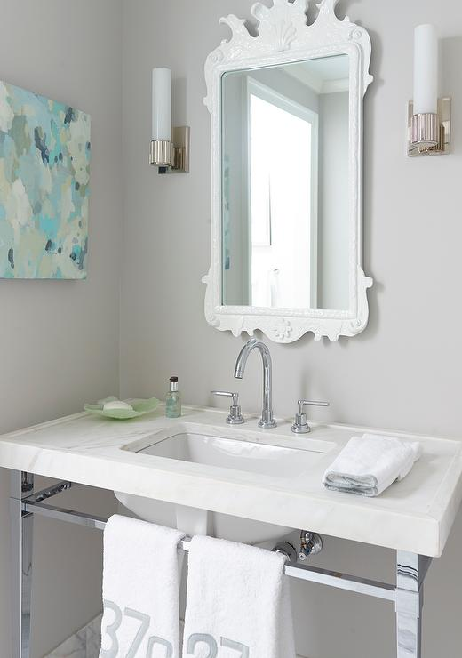 White and Gray Powder Room with Yellow and Blue Abstract