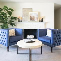 Blue Accent Chairs For Living Room Pics Of Rooms Decor Tufted With White Brick Fireplace Transitional