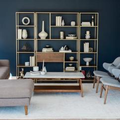 Blue Modern Living Room Painting Ideas Cathedral Ceilings With Wood And Brass Shelving Unit Transitional