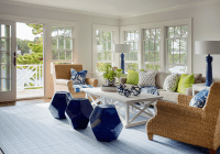 Cottage LIving Room with Seagrass Roll Arm Chairs and