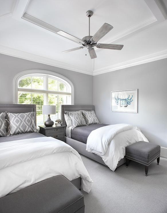 Gray Twin Headboard with Gray Cottage Nightstand